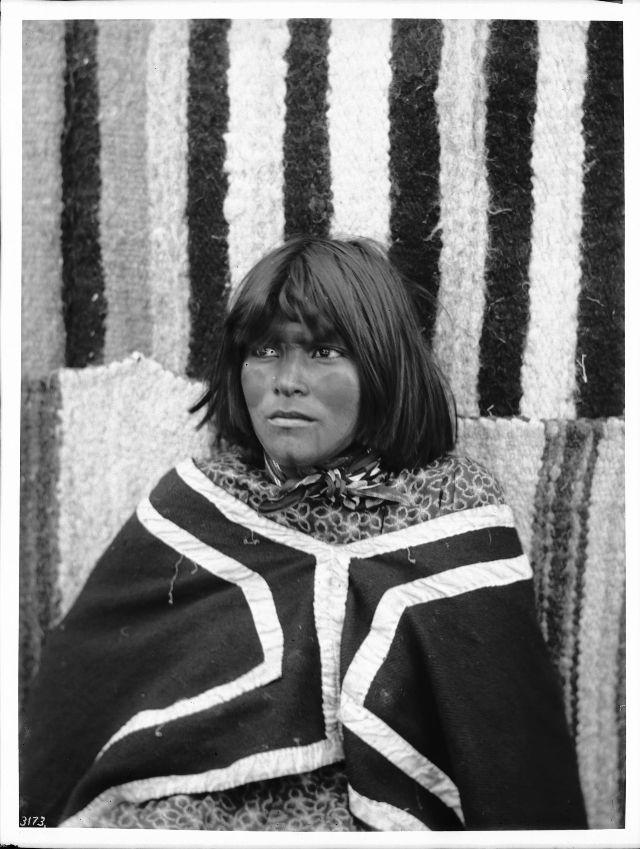 Walapai Indian ex-school girl with painted face, Hackbury, Arizona