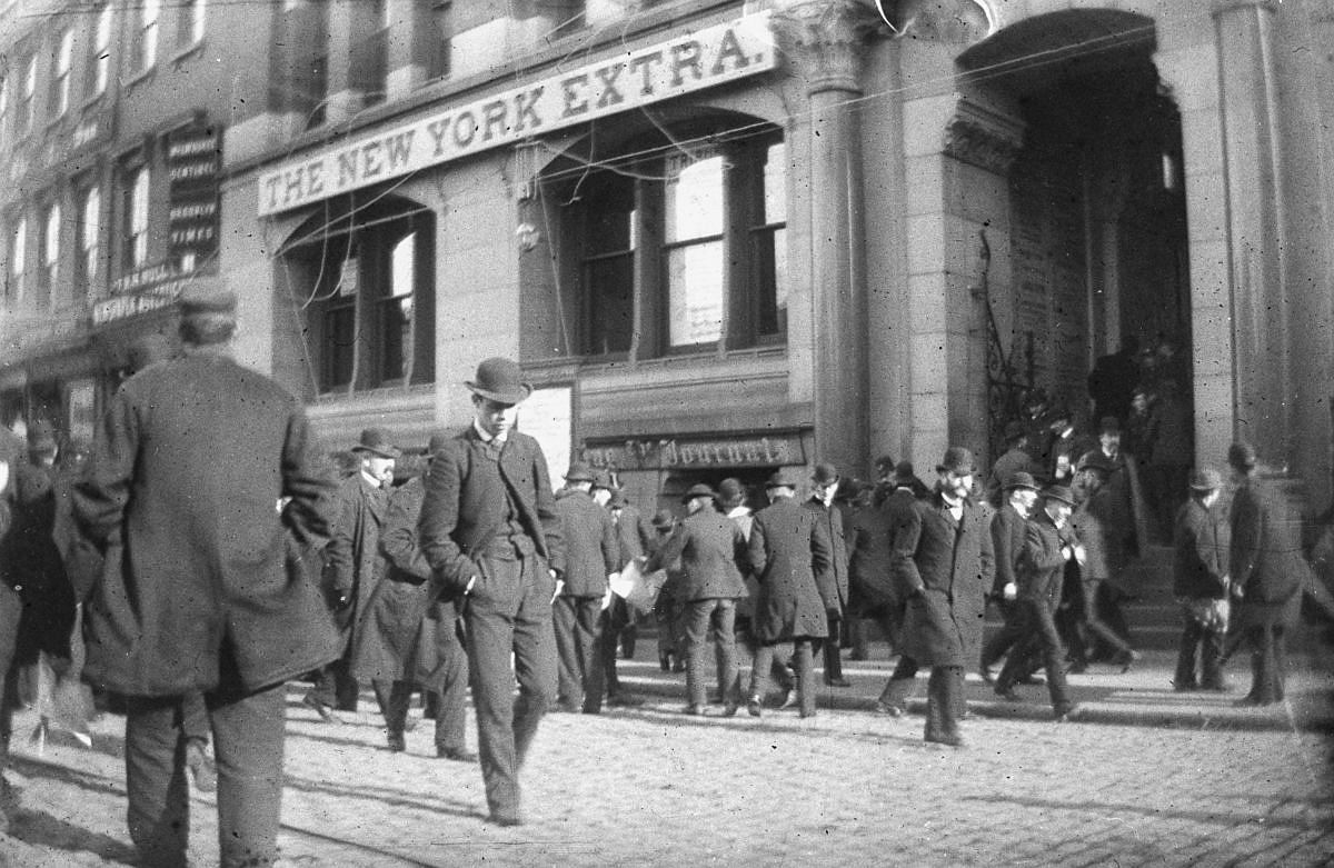 Nov. 6, 1884 - Crowds of men outside the New York Tribune building in lower Manhattan.