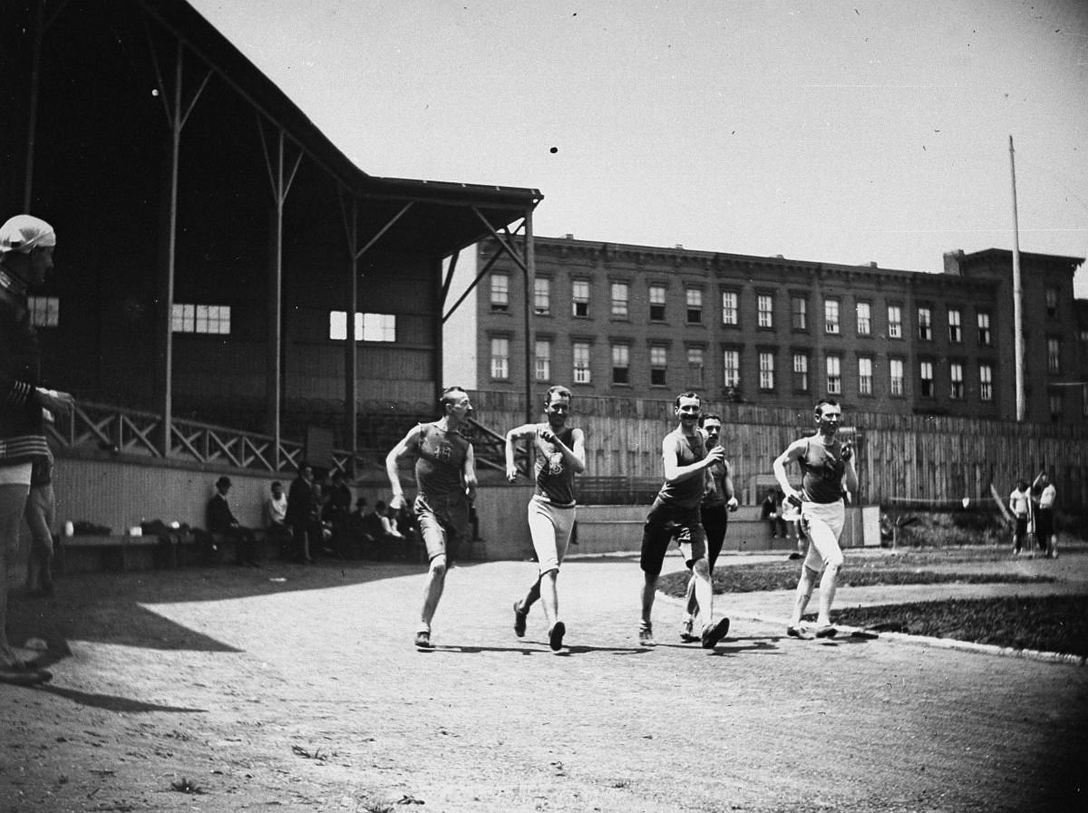 June 27, 1886 - Five men compete in a walking race.