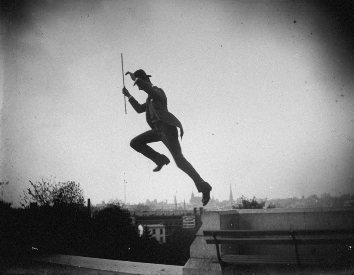 Oct. 14, 1886 - Mr. Stokes jumps off a wall in Fort Greene Park.