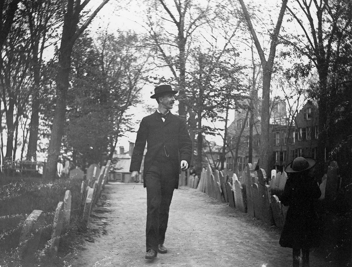 May 10, 1886 - Nathan Abbott and a young girl walk through Copps Hill Cemetery.