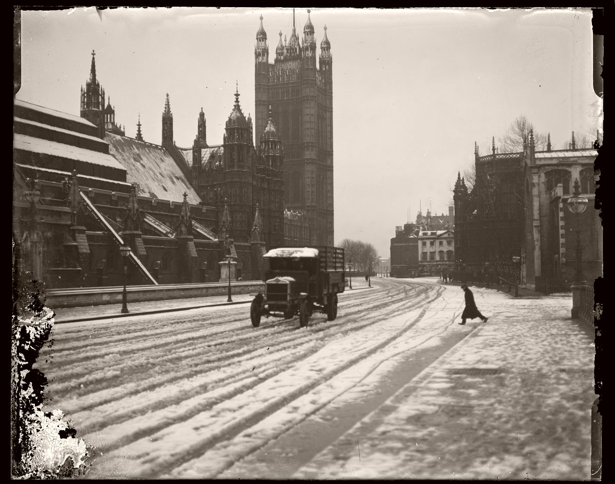 Truck on Snow Covered Street, London, Rex Hazlewood, 1918-1919