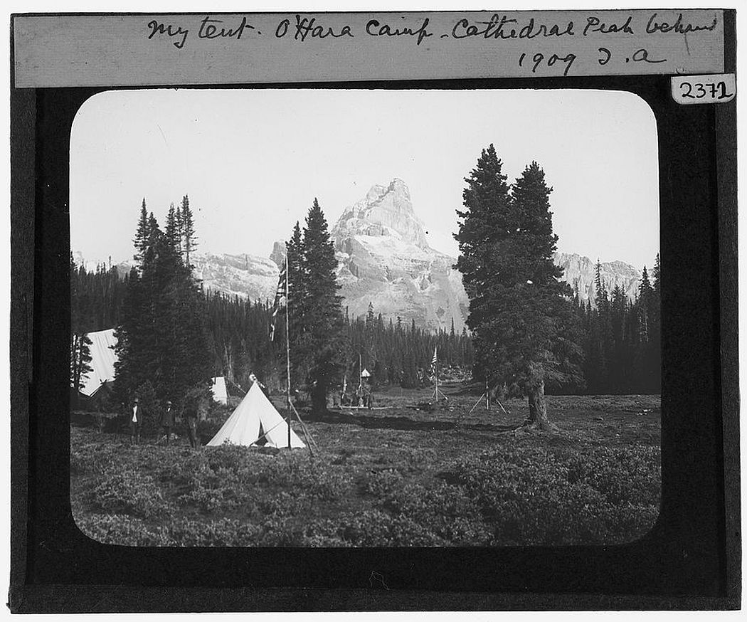 'My tent' Tempest Anderson's tent at O'Hara Camp with Cathedral Peak behind (1909)