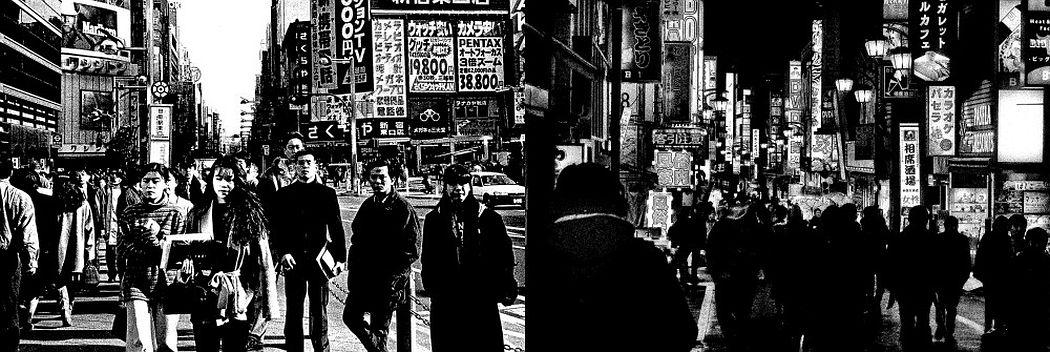 Shinjuku Day & Night 2, 2000/2018 Silkscreen on canvas 20 x 60 in Unique in this format and medium © Daido Moriyama