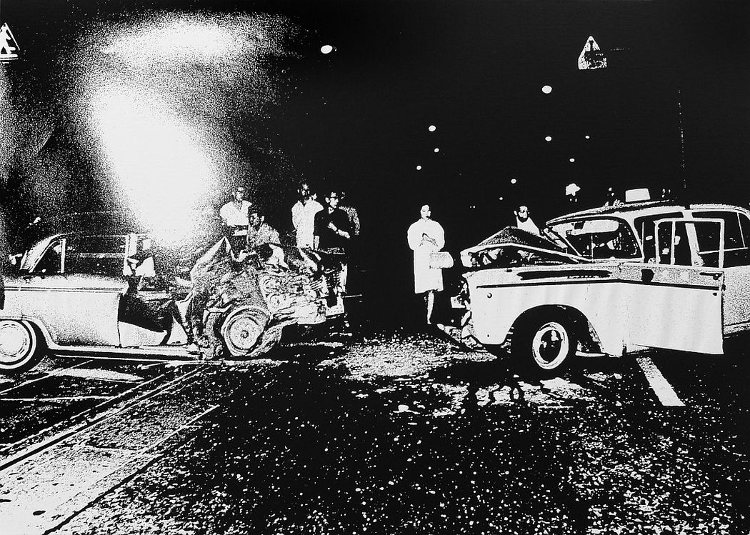 Smash-up, 1969 Silkscreen on canvas 43 1/3 x 61 3/8 in. (110 x 156 cm.) Edition of 3 © Daido Moriyama