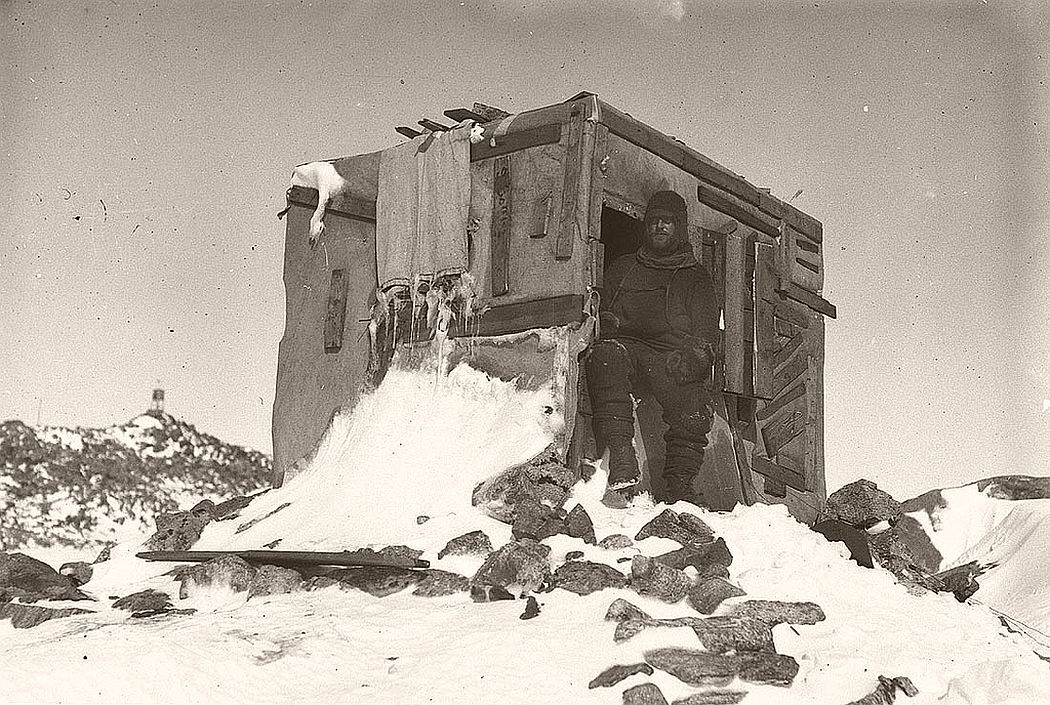Bage in the entrance to the Astronomic Observatory, Antarctica, 1911-1914