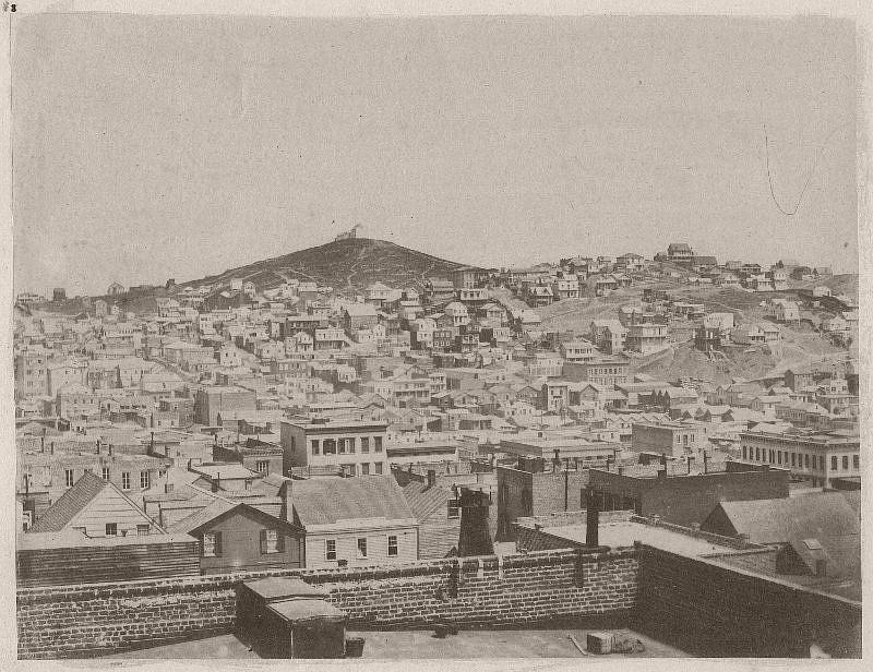 Telegraph Hill, taken from corner of Stockton and Sacramento streets