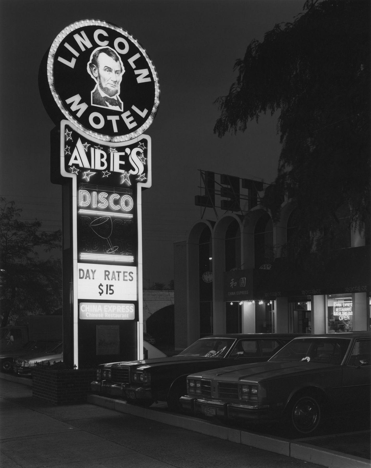 George Tice (b. 1938, Newark) Lincoln Motel and Abe's Disco, Newark, NJ 1981, printed 2/3/82 Selenium waxed gelatin silver print