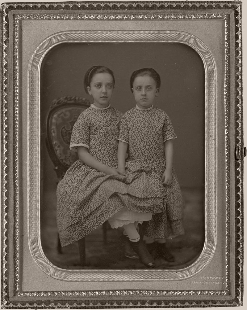 Two Girls in Identical Dresses, 1857