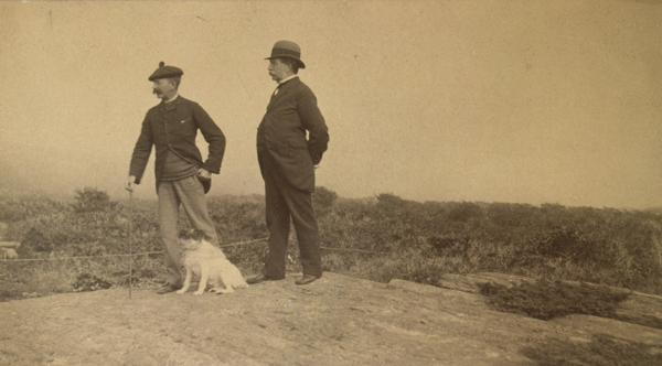 """Winslow Homer, Charles S. Homer, Sr., and Sam at Prout's Neck,"" ca. 1884, albumen silver print, by Simon Towle. Bowdoin College Museum of Art."