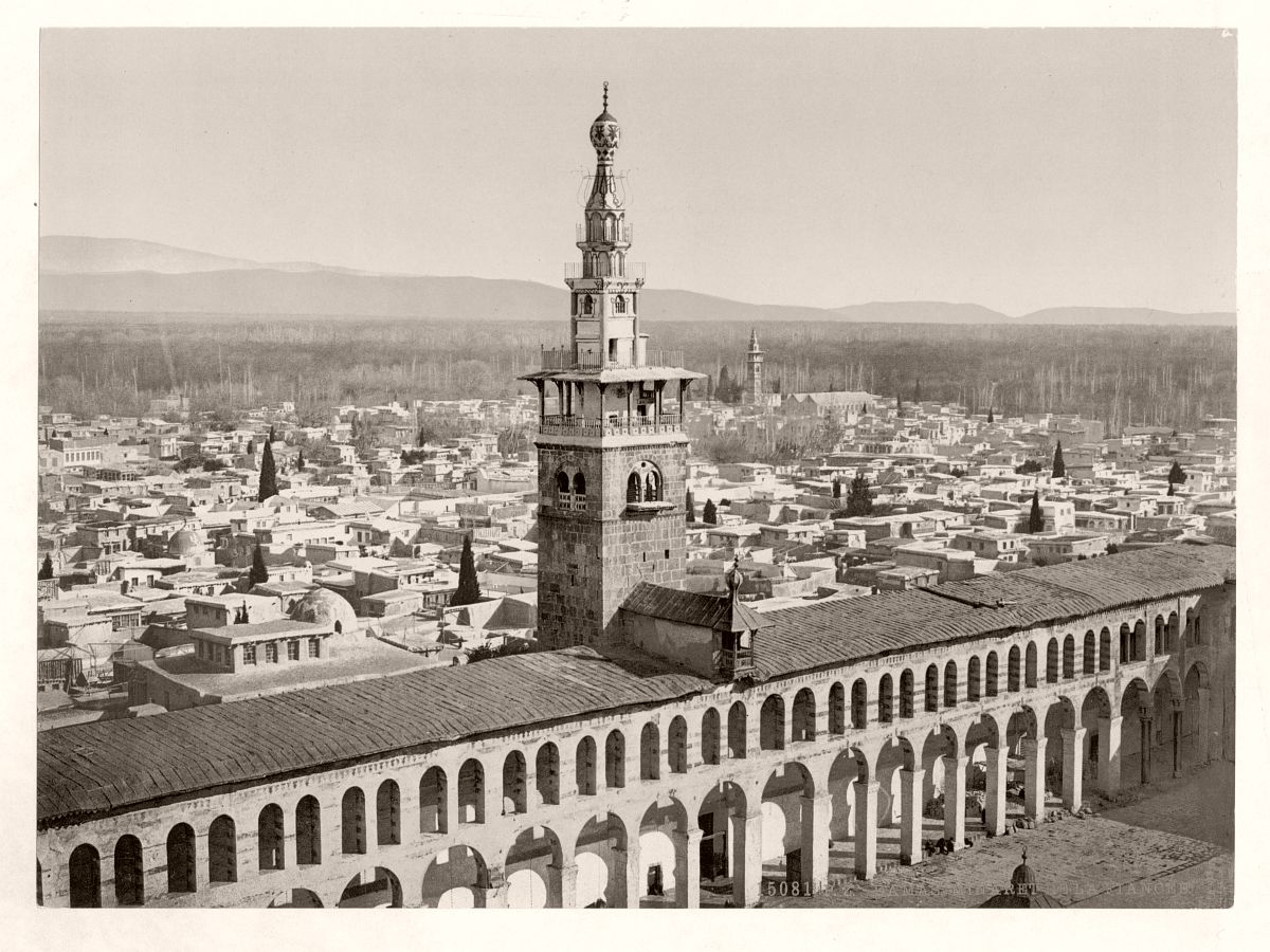 General view and Minaret of the Bride, Damascus, Holy Land, (Syria)