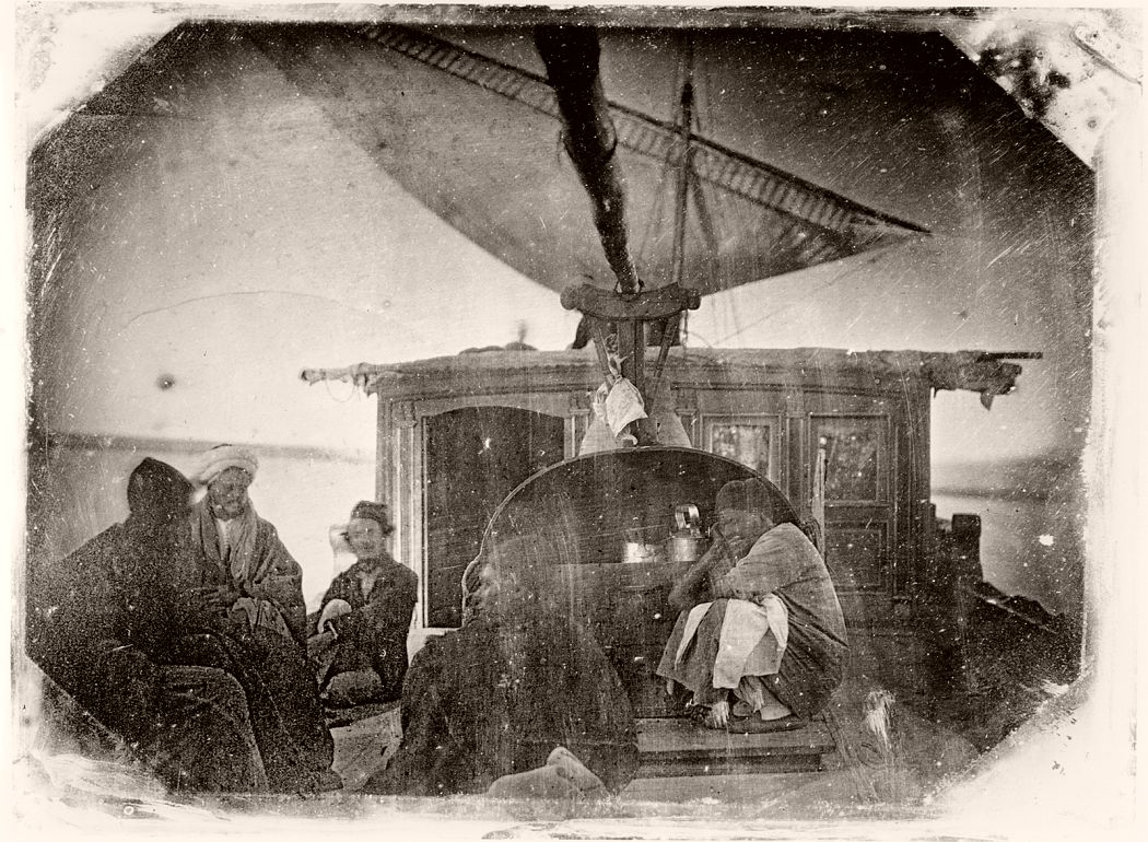 Sailing boat and travellers on the Nile, 1845-6 (daguerreotype) by Itier, Jules (1802-77); Collection Gilbert Gimon, France; Archives Charmet; French