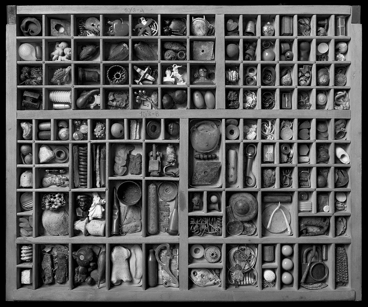 A still life of a number of small objects arranged in a tray made for the storage of type.