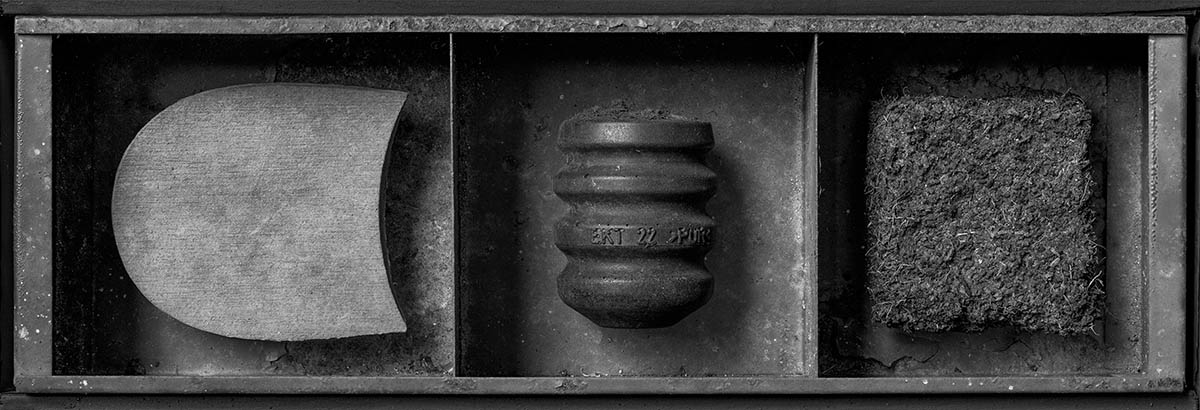 A still life of three diverse objects arranged in a metal tray.