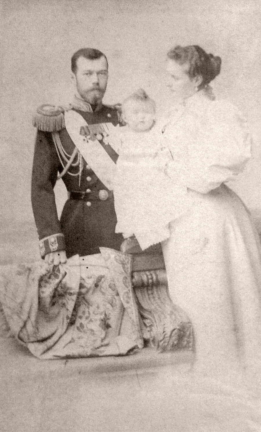 Czar Nicholas II, Empress Alexandra, and daughter Olga. by Sergei Lvovich Levitsky.(1896) The Di Rocco Wieler Private Collection, Toronto, Canada