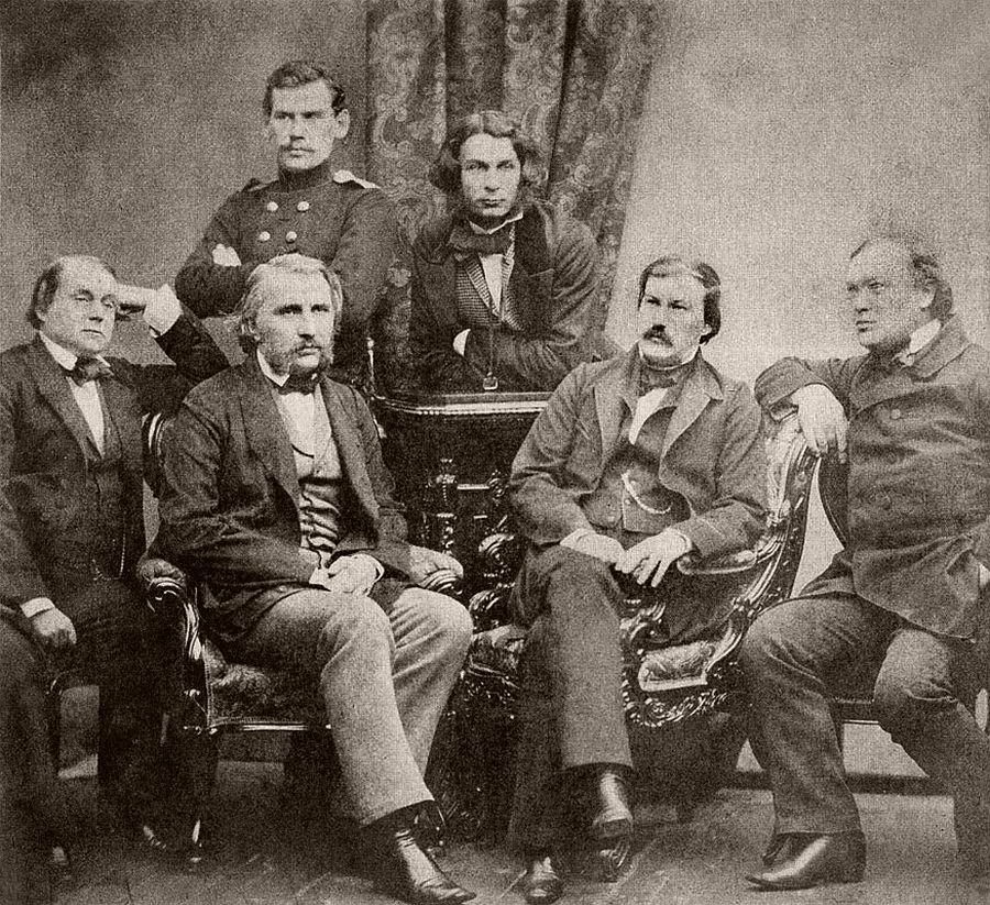 Ivan Goncharov, Ivan Turgenev, Leo Tolstoy, Dmitri Grigorovich, Alexander Druzhinin and Alexander