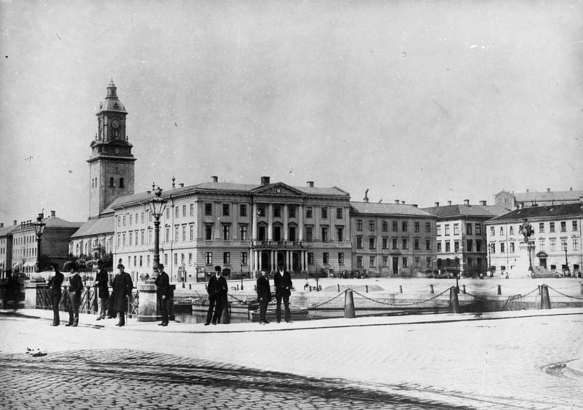 Gothenburg. Gustaf Adolf square with the City Hall in the middle of the picture and the tower of Christine church to the left