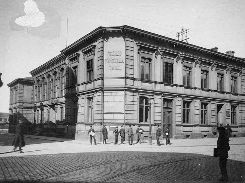 Malmö. Private Bank of Skåne, on the corner of Östergatan and Bruksgatan streets