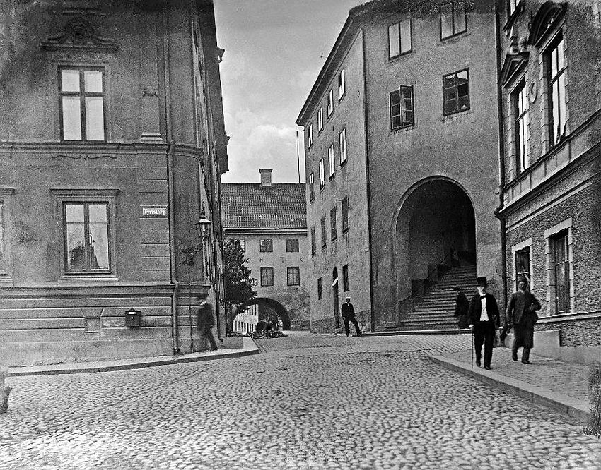 Uppsala. The staircase in the medieval building Domtrapphuset, viewed from Fyris square