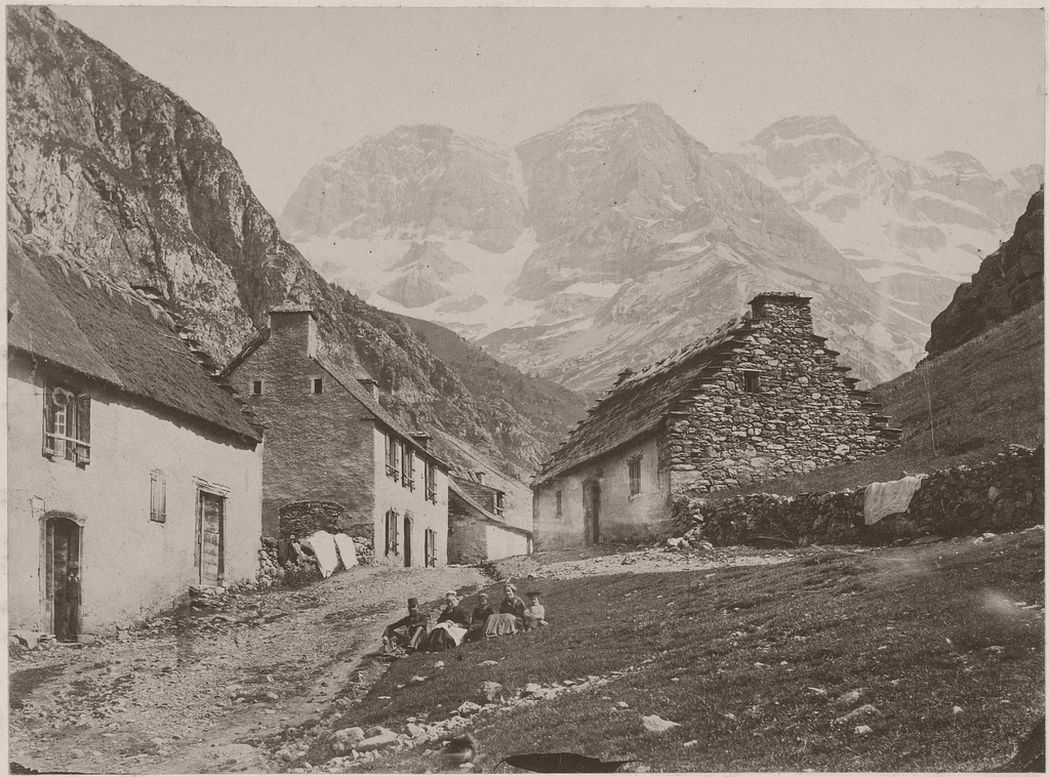 [Village at foot of mountains], British, about 1855 - 1865. Photo by Farnham Maxwell-Lyte