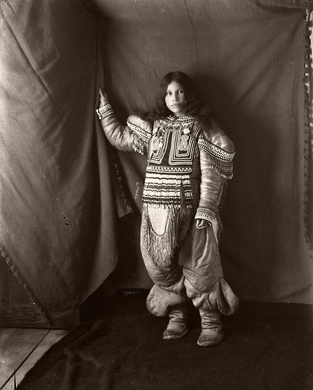 Inuit woman, Kootucktuck, in her beaded attigi. Fullerton Harbour, Nunavut, February 1905