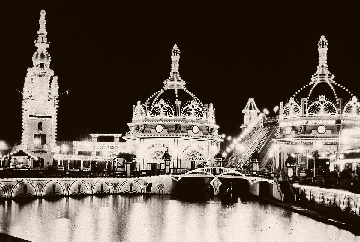 Coney Island's Luna Park is illuminated at night, c.1900.