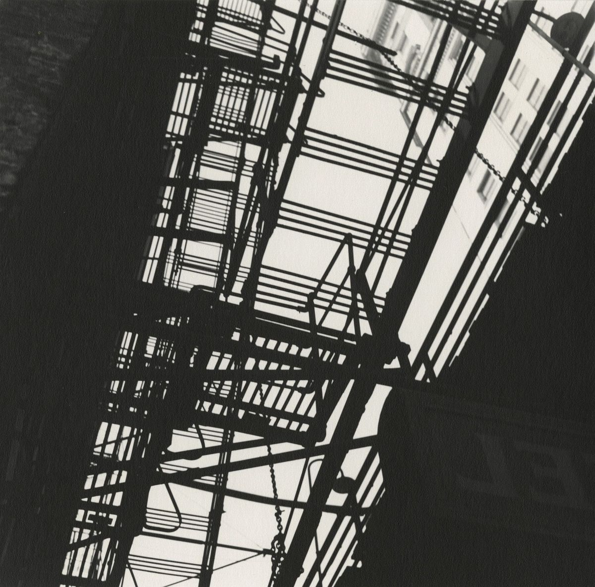 "FERENC BERKO Fire Escape, Chicago, 1947   Photographer's negative number ""1018-12"" and Estate number ""1368-1"" in pencil on print verso, 1947     Early gelatin silver print"