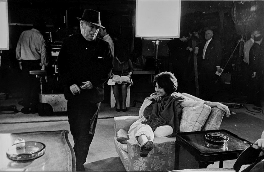 "Photograph by Hatami (1928-2017) Sophia Loren and Charlie Chaplin on the set of ""A Countess from Hong Kong,"" Pinewood Studios, Buckinghamshire photograph 1966"