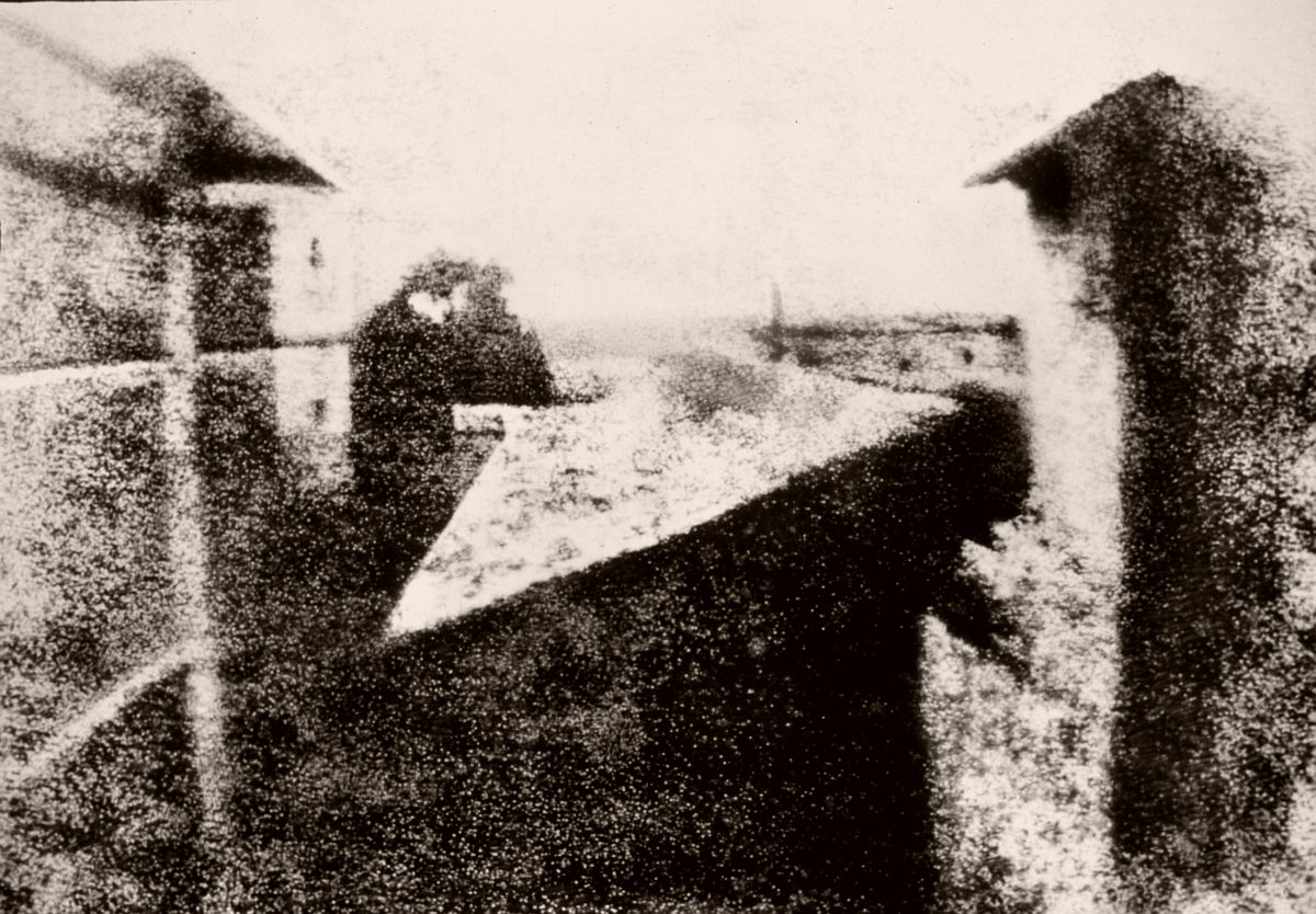 View from the Window at Le Gras (1826 or 1827), the earliest surviving photograph of a real-world scene, made using a camera obscura.