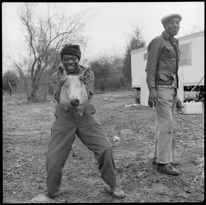 Birney Imes Sonny with Hog's Head, February, 1982, Lowndes County, Mississippi