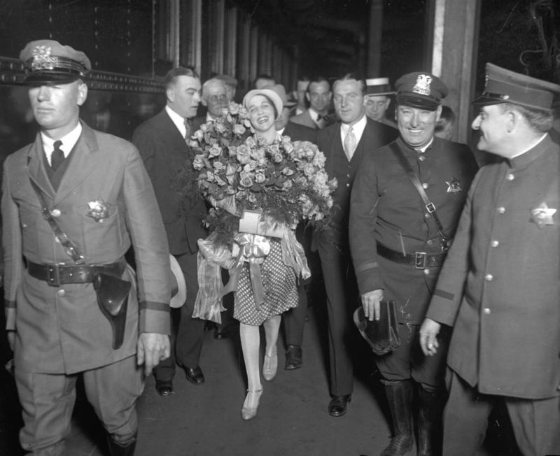 The recently-crowned Miss Universe, Ella Van Hueson, 22, arrived home in Chicago for a parade in her honor on June 8, 1928 after winning the International Pageant of Pulchritude in Galveston, Texas