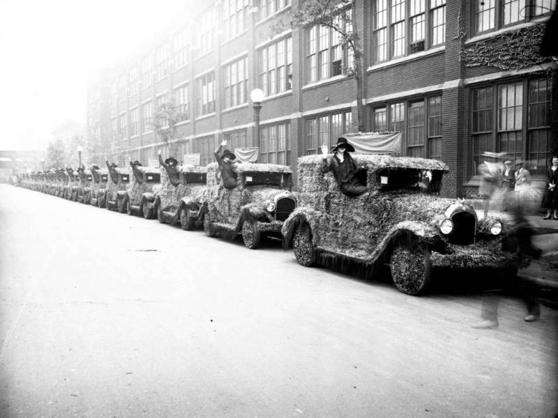 Cars are covered in flowers as part of a Chrysler Parade to honor beauty queens, Sept. 1, 1926
