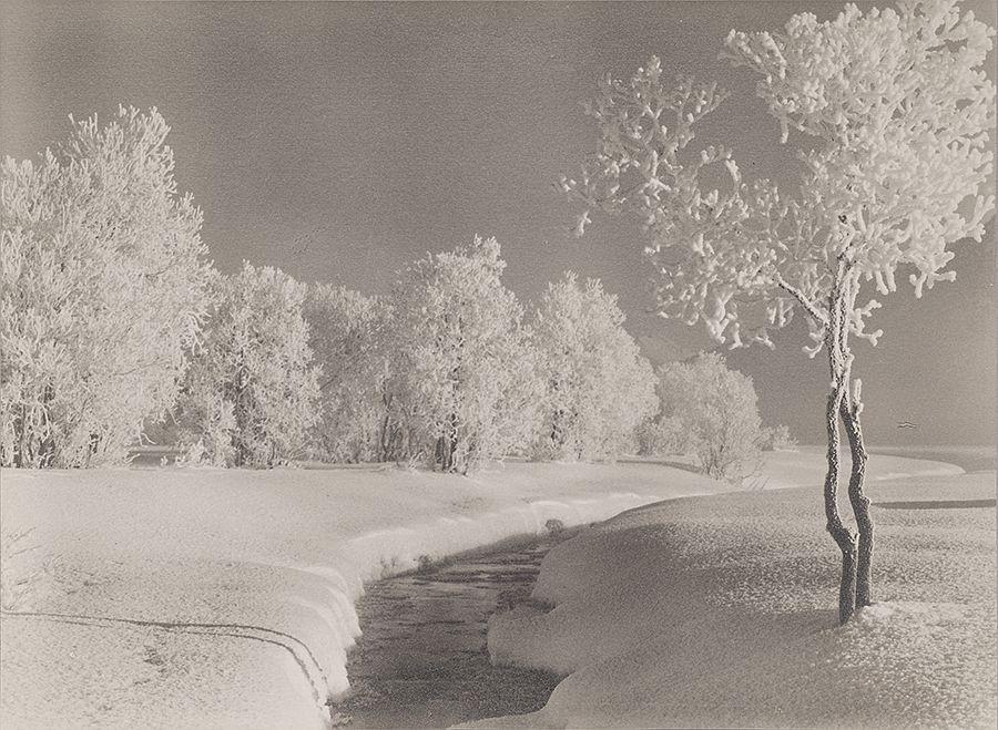Albert Steiner, Winterlandschaft bei Samedan, Silver Gelatine Print © Bruno Bischofberger, Meilen-Zü̈rich