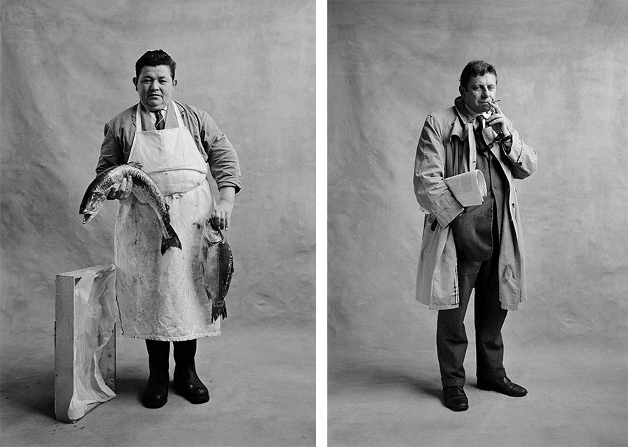 Fred Mayer, Bild links: Pietro Zanoli, Fischverkäufer beim Bianchi, Zürich, 1971 / Bild rechts: Hugo Loetscher, Schriftsteller und Journalist, Zürich, 1971