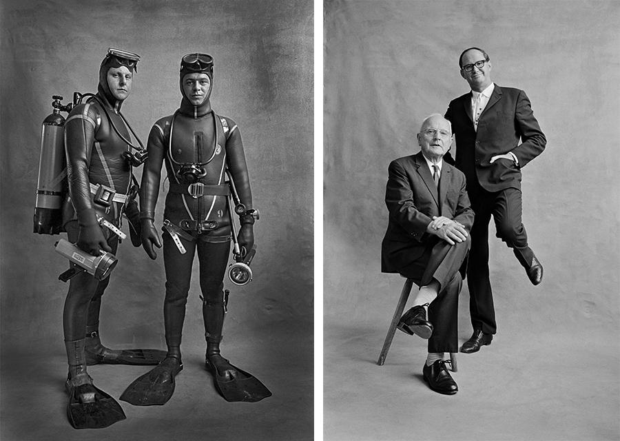 Fred Mayer, Bild links: Albert Kalberer und Albert Egger, Taucher bei der Seepolizei, Zürich, 1971 / Bild rechts: Emil Landolt und Sigi Widmer, Stadtpräsidenten, Zürich, 1971