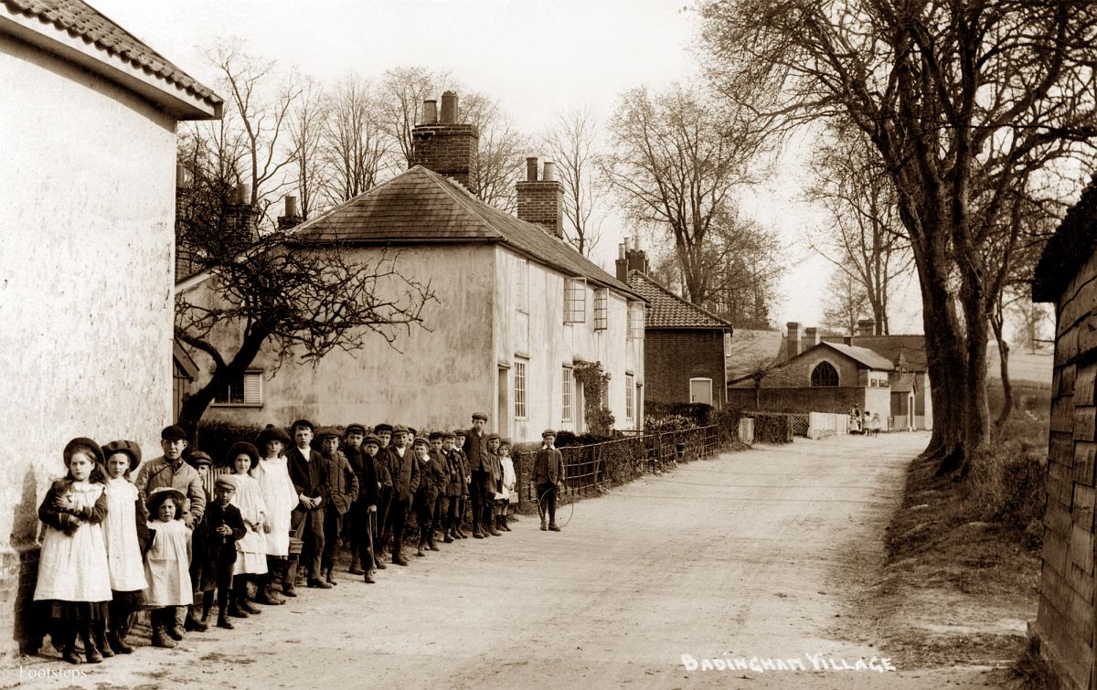 Badingham village, Suffolk.  Date: about 1900 to 1910
