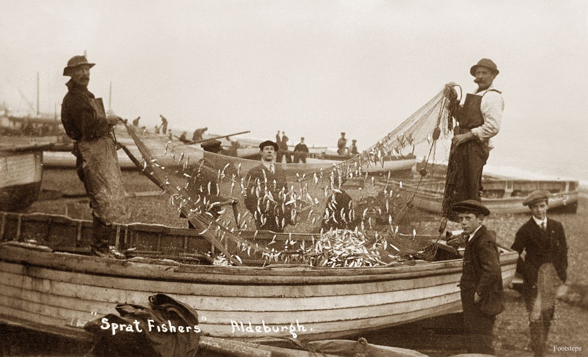 Sprat fishers at Aldeburgh, Suffolk  Date: about 1910 to 1920