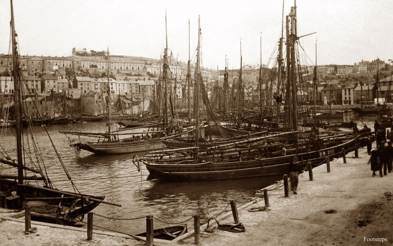 Fishing boats in the harbour at Brixham, Devon, circa 1910s