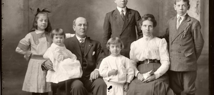 Vintage: Glass plate negative Family Portraits by Michael Miley Studio (early XX Century)