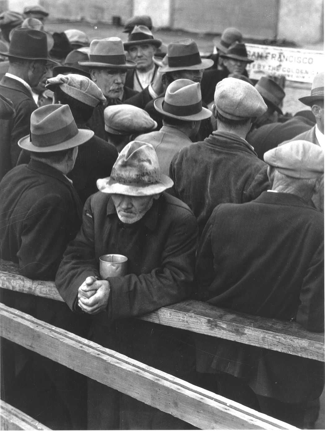 Dorothea Lange. White Angel Breadline, San Francisco, 1933. Gelatin silver print. © The Dorothea Lange Collection, the Oakland Museum of California, gift of Paul S. Taylor