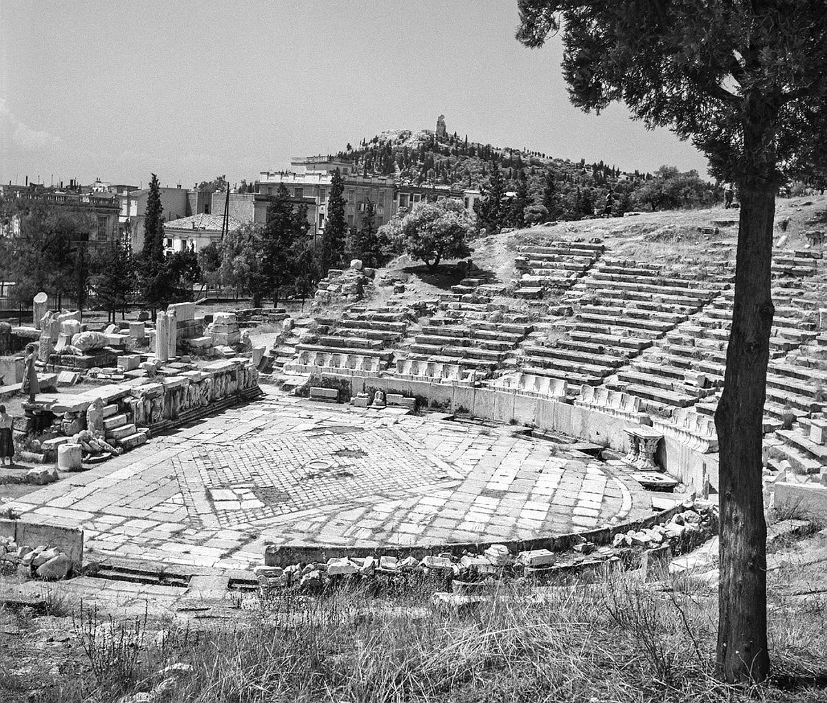 """Theatre of Dionysus. Photograph by Robert McCabe on show in the exhibition """"Chronography-An Exhibition for the 180th anniversary (1837-2017) of the Archaeological Society""""."""