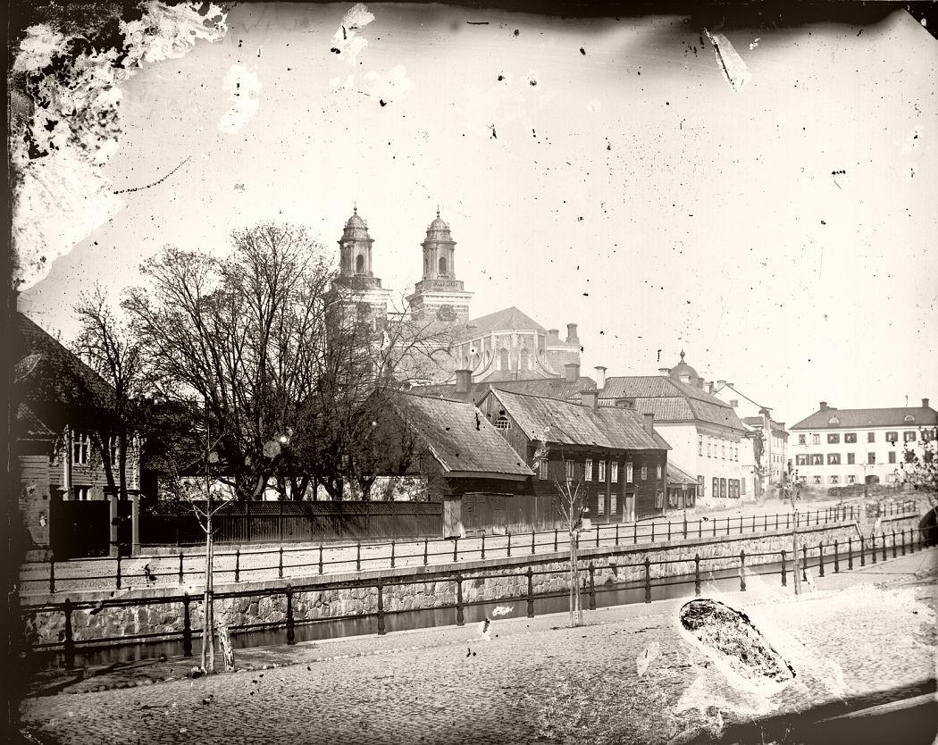 The Block Domen, Fyristorg and Uppsala Cathedral, Fjärdingen, Uppsala before 1885. Photographer: Probably Emma Schensson, Uppsala / Upplandsmuseet.