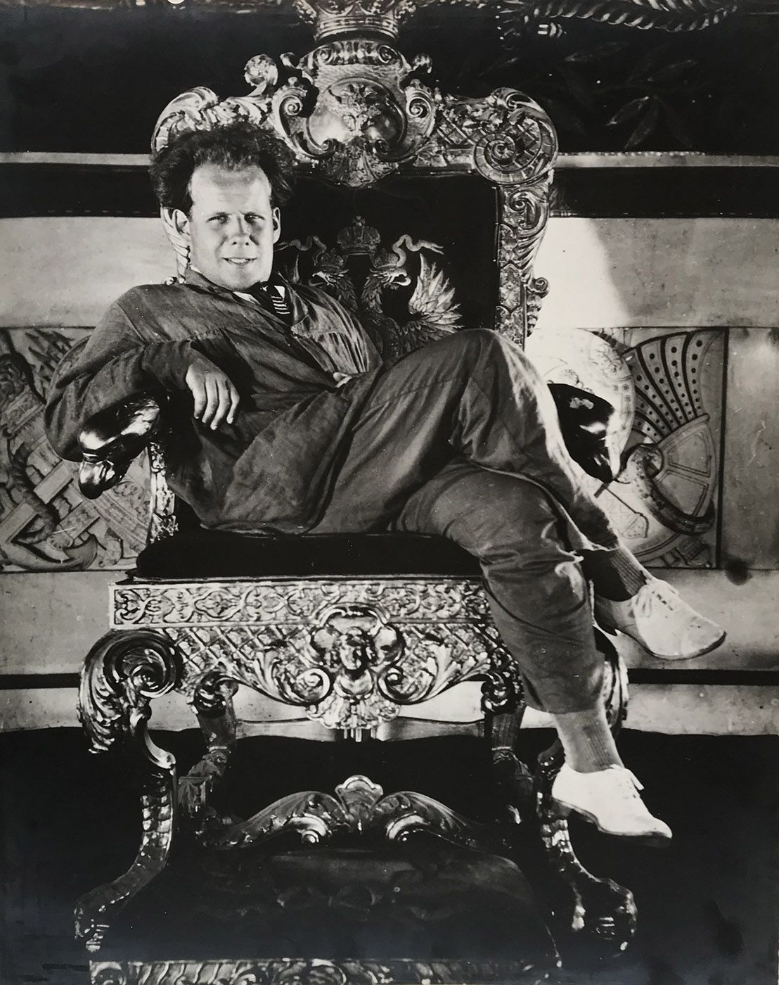 Attributed to Alexander Sigaev (1893-1973)  Sergei Eisenstein enthroned during the production of October (1928), 1927  Vintage gelatin silver print  20 x 15 3/4 in. (50.8 x 40.0 cm)