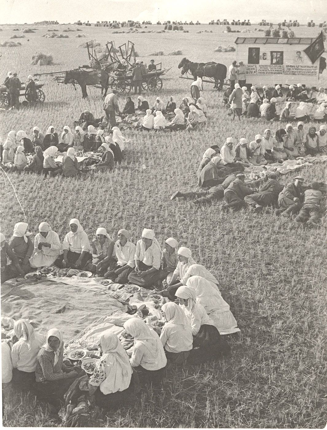 Georgy Petrusov (1903-1971)  Lunch in the Fields, 1934  Vintage gelatin silver print