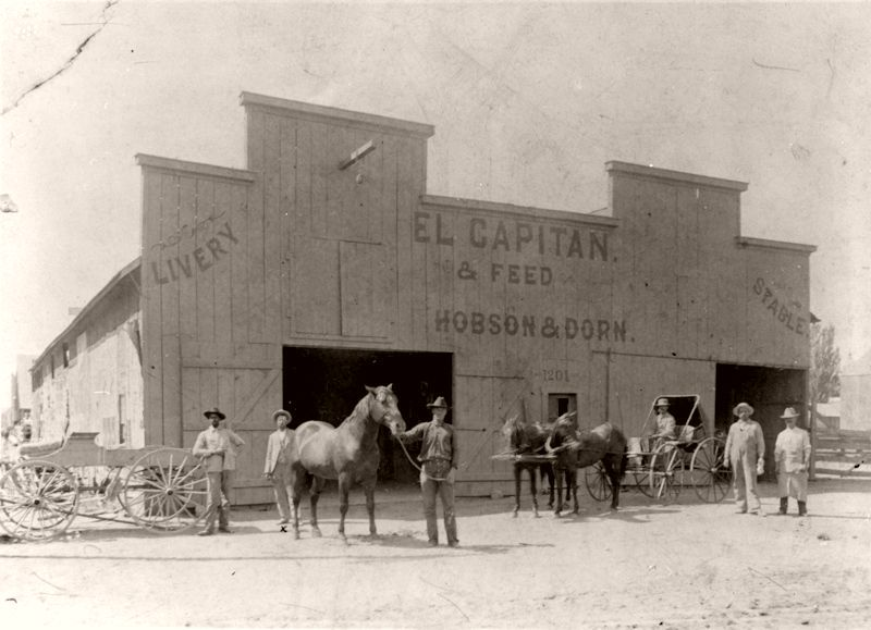 El Capitan Livery Stable and Feed Store, Castle Rock, Colorado, 1897