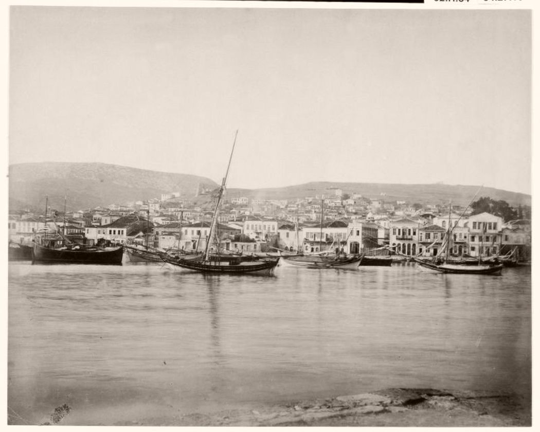 Mytilene port, Lesbos, Greece, 1890