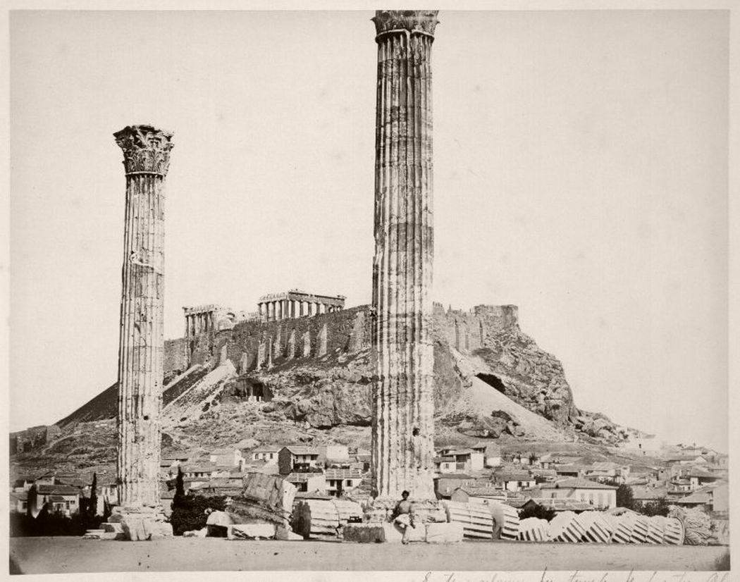 Jupiter temple, Athens, Greece, circa 1860