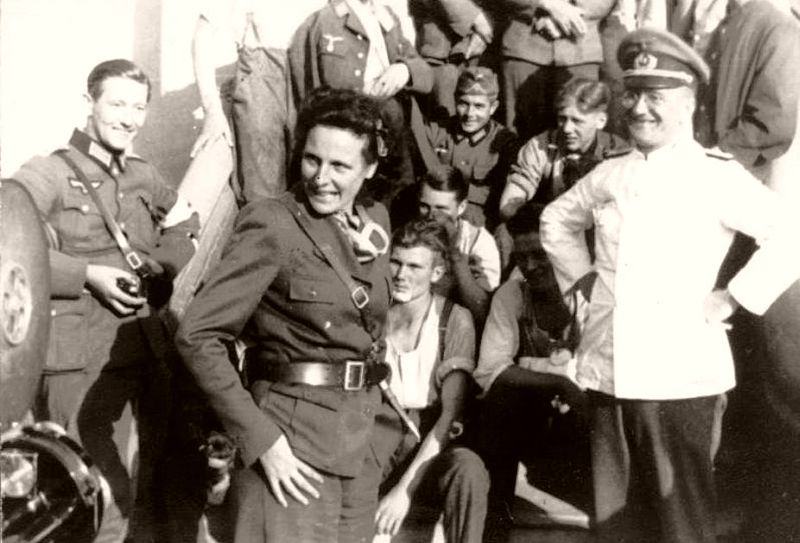 Leni Riefenstahl, dressed in a Wehrmacht uniform, during her brief stint as a war correspondent covering Germany's invasion of Poland in 1939 (public domain)