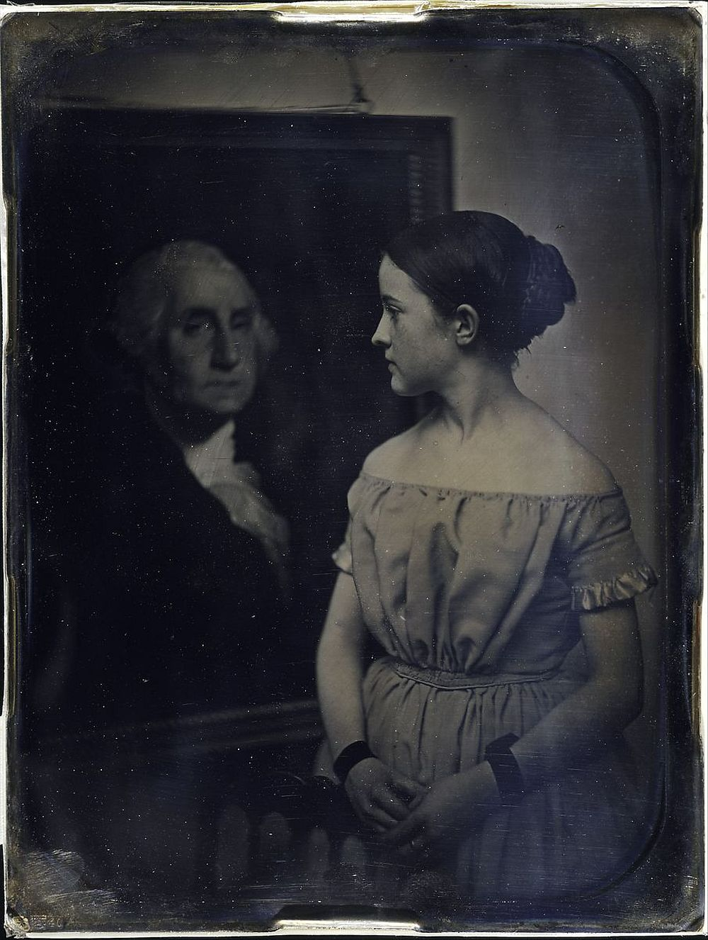 Southworth and Hawes (American, active 1843–1863),  [Girl with Portrait of George Washingtion], ca. 1850, Daguerreotype; 21.6 x 16.5 cm (8 1/2 x 6 1/2 in.),  The Metropolitan Museum of Art, New York, Gift of I. N. Phelps Stokes, Edward S. Hawes, Alice Mary Hawes, and Marion Augusta Hawes, 1937 (37.14.53-) http://www.metmuseum.org/Collections/search-the-collections/268354