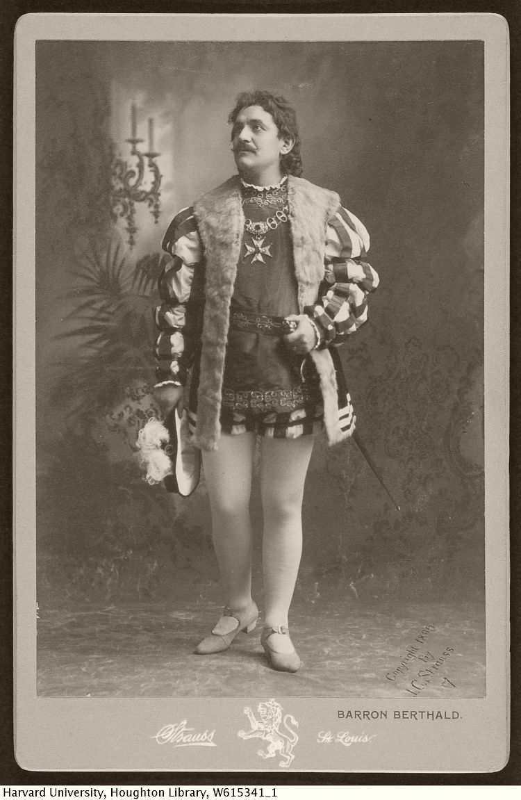 Cabinet card image of actor Barron Berthald, with Strauss imprint
